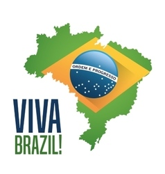Flag and map of brazil design vector