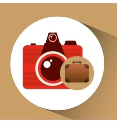 suitcase vintage camera photograpy travel concept vector image