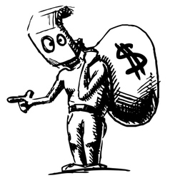 Robber in a mask and with money bag vector