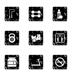 Active sport icons set grunge style vector
