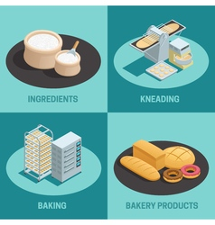 Four Bakery Factory Isometric Icon Set vector image