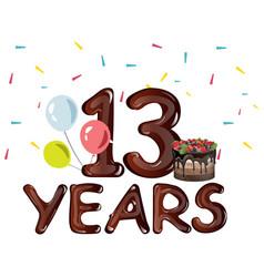 13th years anniversary card vector