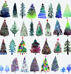 Big collection of watercolor christmas tree vector