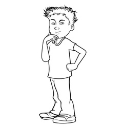 Boy asian thinking bw vector