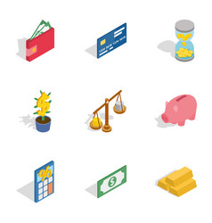 Banking icons isometric 3d style vector