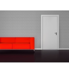 Brick wall with white door and red sofa vector image