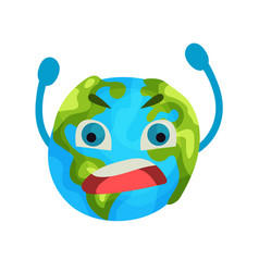 cartoon furious earth planet emoji humanized vector image