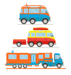 cartoon transport set van with surfboard van vector image