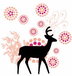 deer with floral vector image vector image