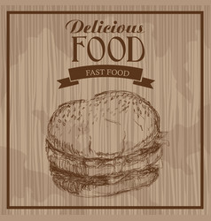 delicious food burger fast food hand drawn vector image
