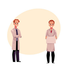 doctors in medical coats holding blank sign with vector image vector image