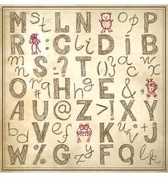 doodle alphabet design on grunge background vector image