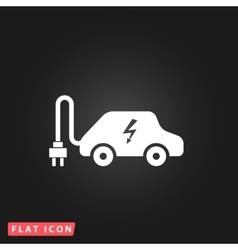 Electric car flat icon vector
