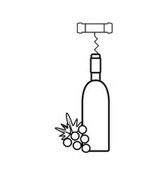 Figure wine bottle with grape fruit and corkscrew vector