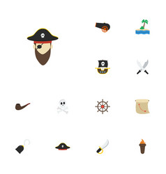 flat icons cranium corsair pirate hat and other vector image