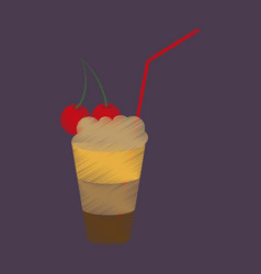 Flat shading style icon milkshake with cherry vector