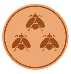 Fly insects bronze coin vector