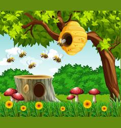Garden scene with bees flying vector