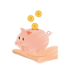 hand draw save money piggy coins bank color vector image vector image