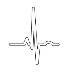 Heart rhythm ekg black color path icon vector