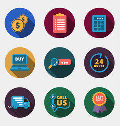 Modern circle colorful shop icons with shadow vector