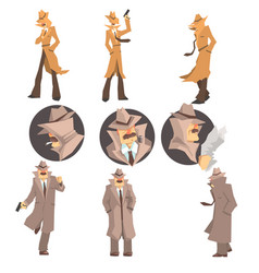 Police detective and private investigator at work vector
