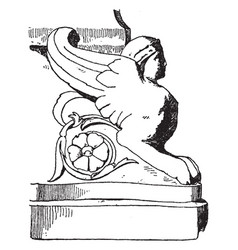 Roman sphinx is the bust of a woman with wings vector