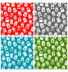 set christmas patterns with gift boxes on a color vector image vector image