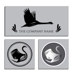 Set white and Black Swans Logo vector image