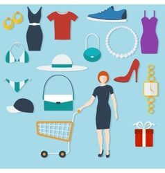 Shopping concept with flat icons and women with vector image vector image