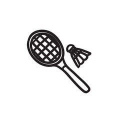 Shuttlecock and badminton racket sketch icon vector