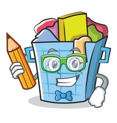 Student laundry basket character cartoon vector
