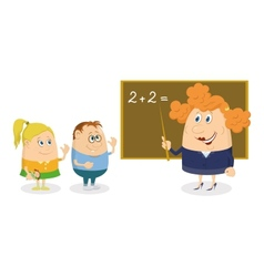 Teacher woman with kids vector image