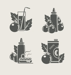 tomato products set icons vector image
