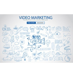 Video Marketing concept with Doodle design style vector image vector image