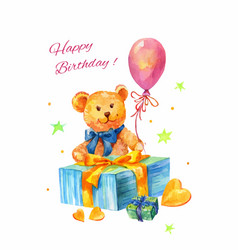 Watercolor birthday with teddy bear balloon gift vector