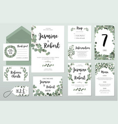 Wedding invitation card eucalyptus design vector