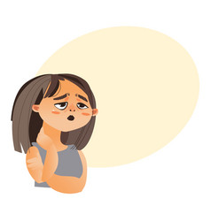 Woman feeling fatigue cartoon vector