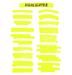 yellow highlighter brush lines on white vector image