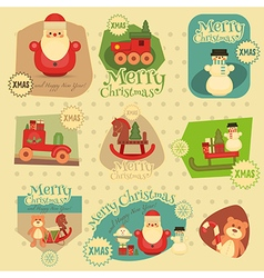 Xmas stickers set vector