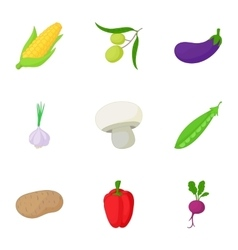 Healthy vegetables icons set cartoon style vector