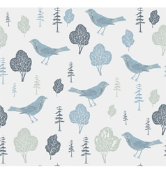 Birds and trees Seamless pattern vector image