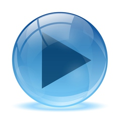 Blue abstract 3d play icon vector
