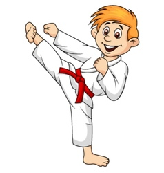 Boy cartoon doing martial art vector