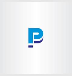 blue p letter icon sign element logo vector image