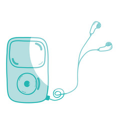 silhouette mp3 player with headphones to listen vector image