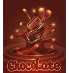 Background with chocolate pieces falling into melt vector