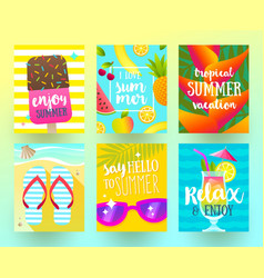 Set of summer holidays and vacation posters vector