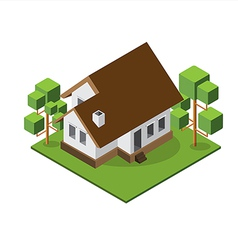 Isometric medium house 380 vector