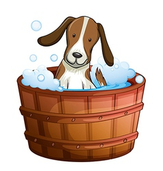 A dog taking a bath at the bathtub vector